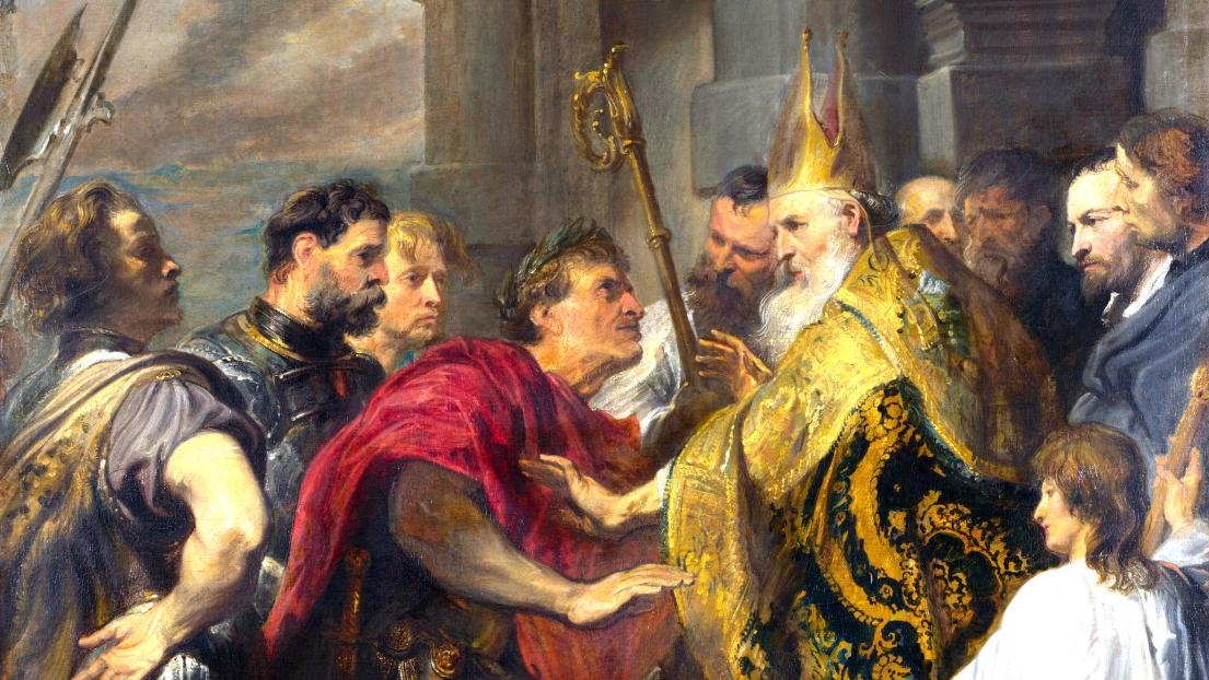 7 décembre : S. Ambroise, Confesseur et Docteur, refusant l'entrée de l'église à l'empereur Théodose. (Antoine van Dick)